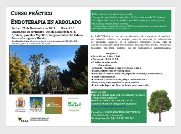 ¡ULTIMAS PLAZAS! CURSO PRÁCTICO ENDOTERAPIA EN ARBOLADO. 27 NOVIEMBRE CARTAGENA