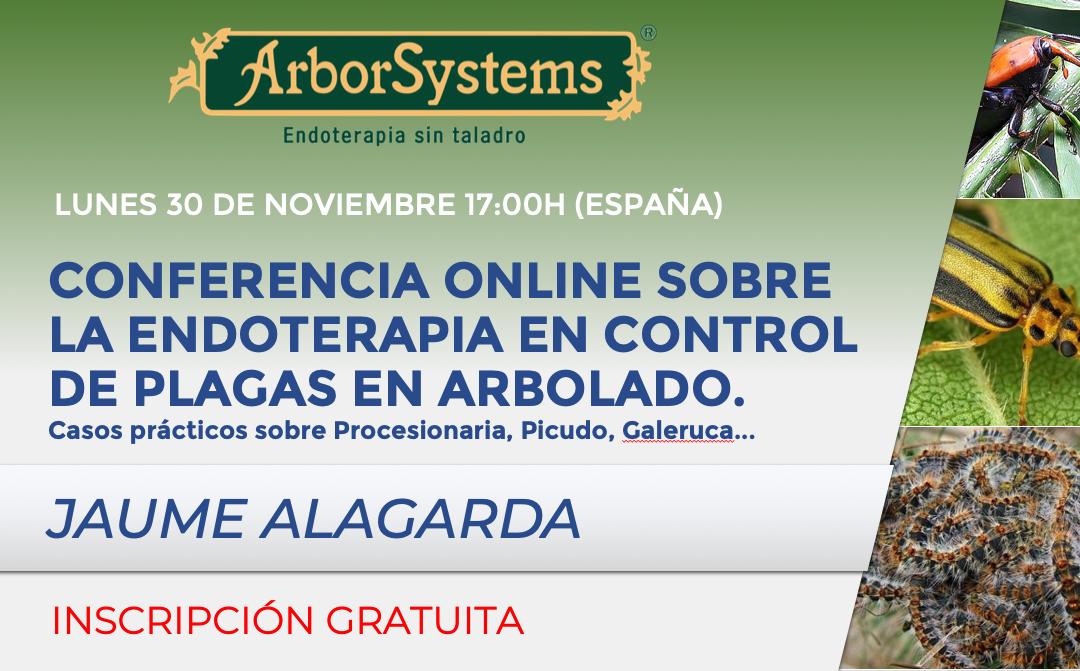 CONFERENCIA ONLINE SOBRE LA ENDOTERAPIA EN CONTROL DE PLAGAS EN ARBOLADO. Lunes 30 de noviembre 17:00h